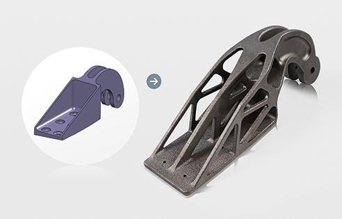 Projekt konwencjonalnego wspornika odlewanego ze stali (z lewej) oraz (z prawej) wspornika tytanowego ze zoptymalizowaną topologią wykonanego w technologii DMLS (źródło: EADS)